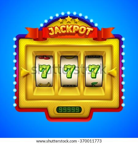 Gold slot machine illustration. - stock vector