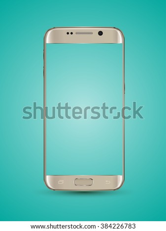 Gold smartphone mockups transparent screen. Vector illustration. Can use for element on printing and web. Place apps, game, website on screen for demo. - stock vector