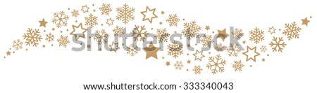 Gold Snowflakes and Stars Border - stock vector