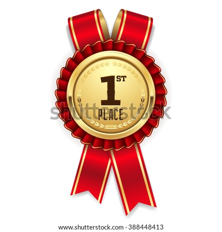 Gold 1st place rosette, badge with red ribbon on white background - stock vector