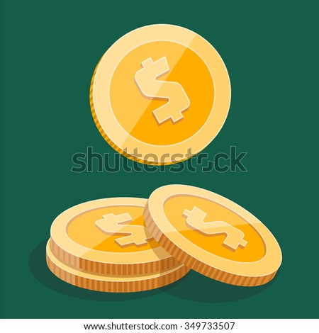 gold stack of dollar coins, vector isometric icon on a colored background - stock vector
