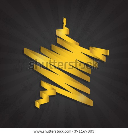 Gold star gloss ribbon on the grunge background - stock vector