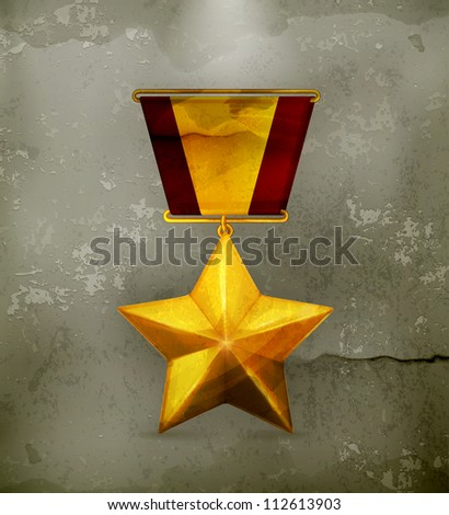 Gold star, old-style vector - stock vector