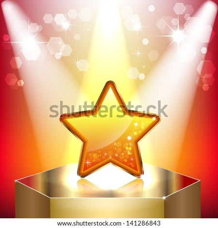 Gold star on a pedestal. Symbol of success and victory. The scene illuminated by floodlights - stock vector