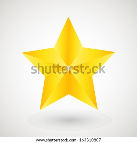 Gold star on the light background - stock vector
