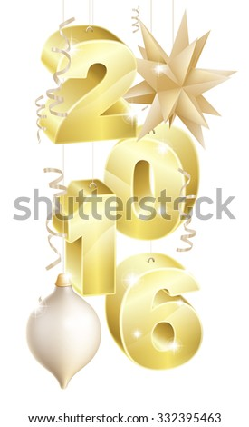 Gold star shaped tree bauble ball decoration ornaments and party streamer ribbons 2016 New Year or Christmas design.