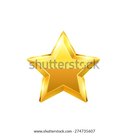Gold star. Vector - stock vector