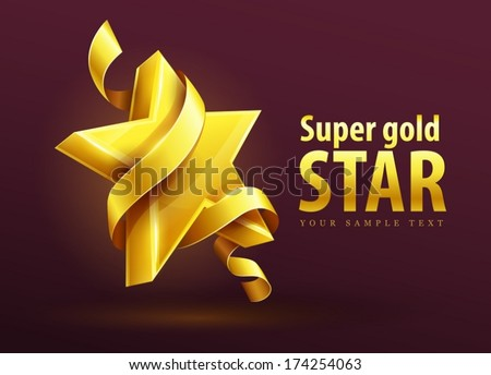Gold star with ribbon vector illustration. EPS10  EPS10. Transparent objects and opacity masks used for shadows and lights drawing - stock vector