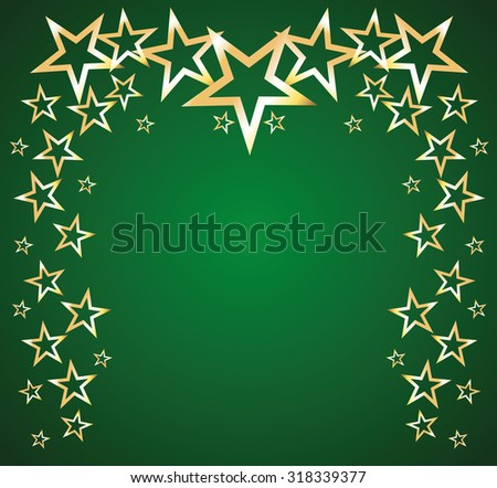 Gold stars on a green background. Background, vector illustration, frame, card - stock vector