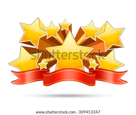 Gold stars with red ribbon with space for your text. Award banner, decoration badge. Vector illustration - stock vector
