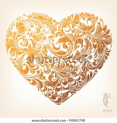 Gold stylish heart with floral ornament, vector illustration - stock vector