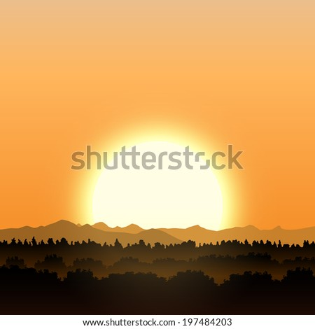 Gold sunset with forest and mountains - stock vector
