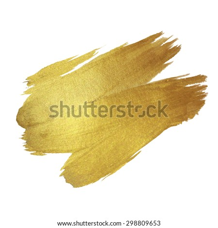 Gold Texture Paint Stain Illustration. Hand drawn brush stroke vector design element. - stock vector