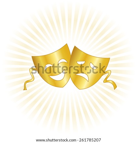 Gold theatrical masks silhouette representing theater comedy and drama over white background - stock vector