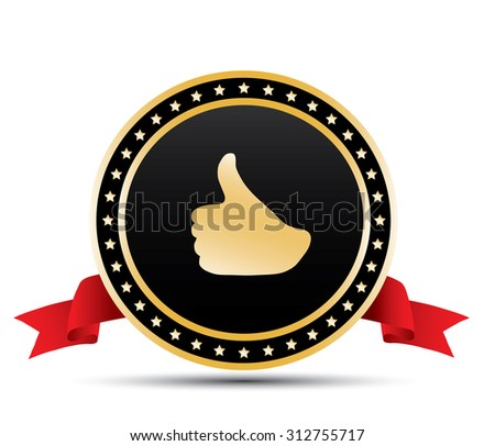 Gold thumbs sign - stock vector
