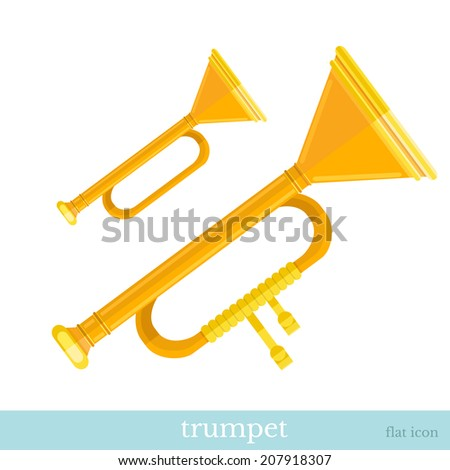 gold trumpet flat icon on white - stock vector