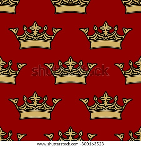 Gold victorian crowns seamless pattern with floral fleur de lys decorative elements on red background - stock vector