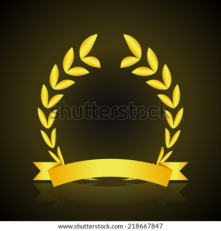 Gold victory wreath insignia with ribbon on dark background vector illustration - stock vector
