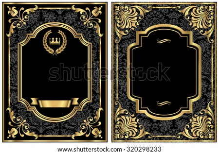 Gold Vintage Labels - Set of two vintage style labels with gold scroll frames and damask details.  Damask pattern is in swatches panel.  Each label is grouped separately for easy editing. - stock vector