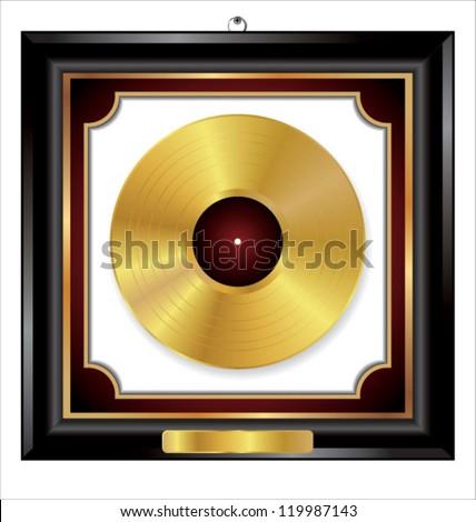 Gold Vinyl Disc award in elegant frame - stock vector