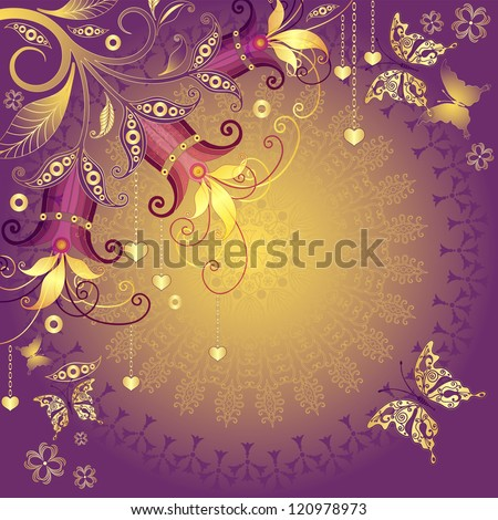 Gold-violet-red valentine vintage frame with gold hearts, flowers and butterflies (vector EPS 10) - stock vector