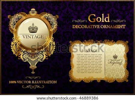 gold vitnage frame ornament vector illustration - stock vector