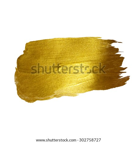 Gold watercolor texture paint stain vector abstract illustration. Shining brush stroke for you amazing design project - stock vector