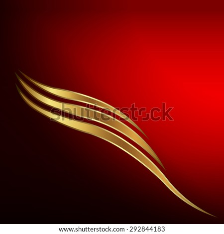 Gold waves card - stock vector