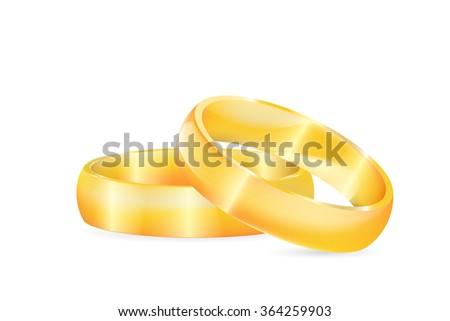 Gold wedding rings - stock vector