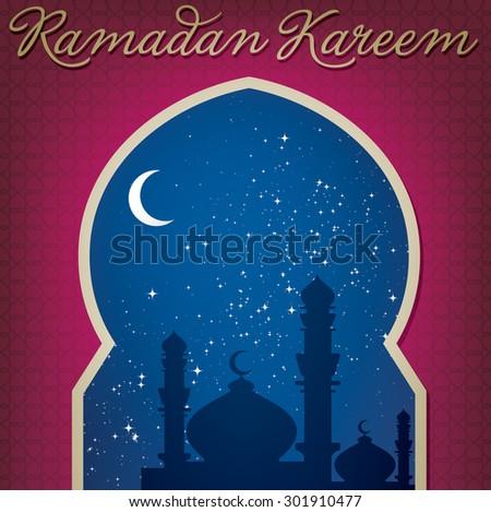 "Gold window ""Eid Mubarak"" (Blessed Eid) card in vector format - stock vector"