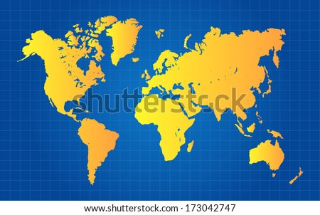 Gold World Map On Blue Grid Gradient Background - stock vector