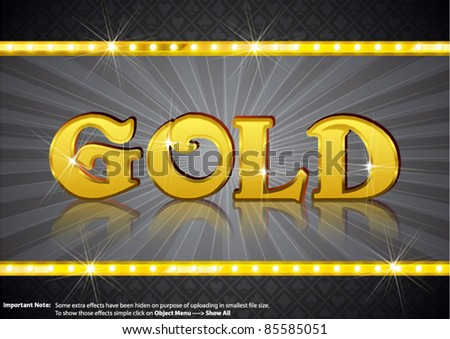 Gold Write in gold shining font - stock vector
