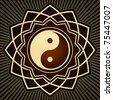 gold yin yang symbol - stock vector