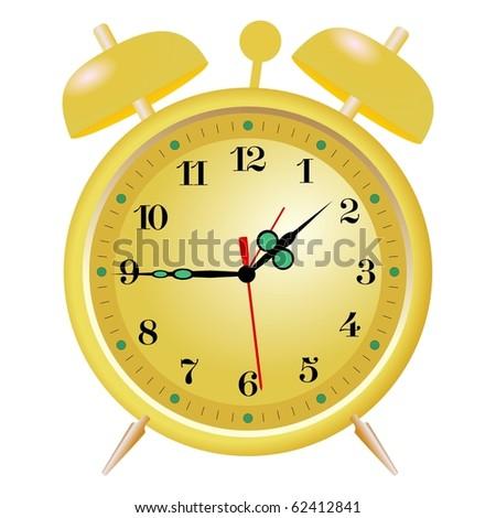 golden alarm clock - stock vector