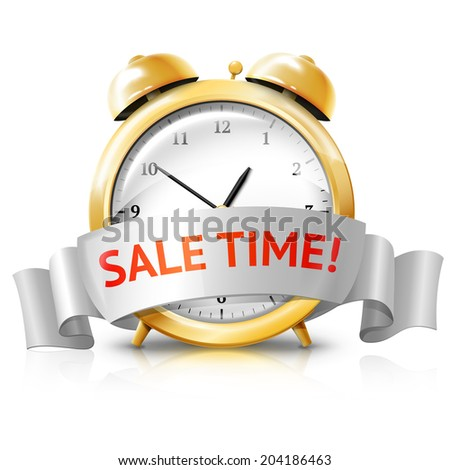 "Golden alarm clock with silver white banner ""Sale Time!"" isolated on white background with reflection. Vector - stock vector"