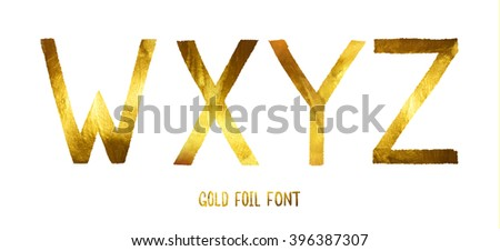 Golden alphabet vector letters W, X, Y, Z on a white background, glitter letters. Title. Golden alphabet. Gold badge. Gold foil font. - stock vector