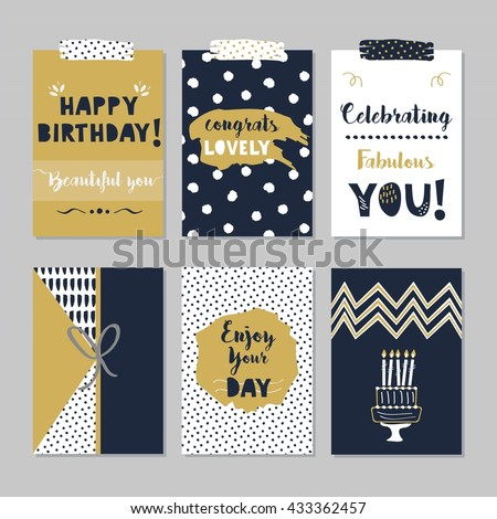Golden and dark navy blue Happy Birthday cards set on trendy gray background - Beautiful designs with hand drawn dotted patterns, birthday messages, and birthday cake icon - stock vector