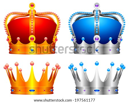 Golden and silver crowns decorated with jewels. - stock vector