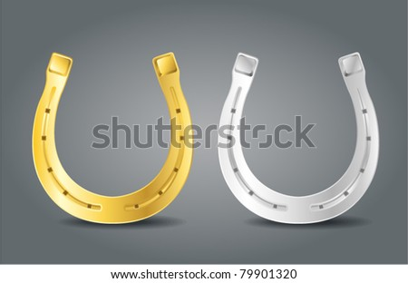 Golden and silver horseshoes. Symbol of luck - stock vector