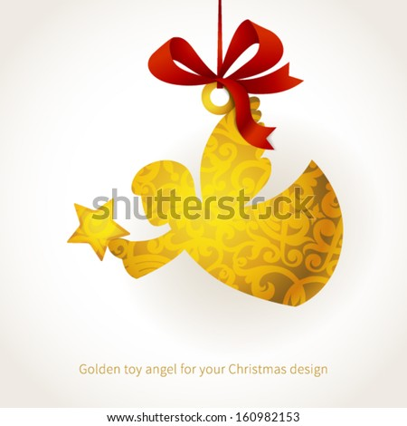 Golden angel with star and ribbons. Place for text. Element for Christmas design. It can be used for decorating of invitations, greeting cards, labels, decoration for bags and clothes. - stock vector