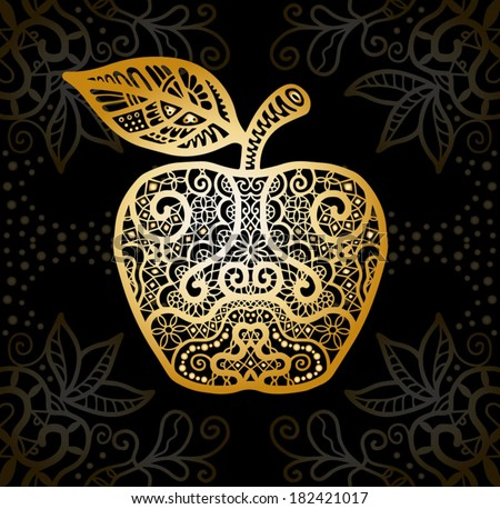 Golden Apple. Vintage Card with damask background, luxury golden white and black design, stylized abstract lace pattern - stock vector