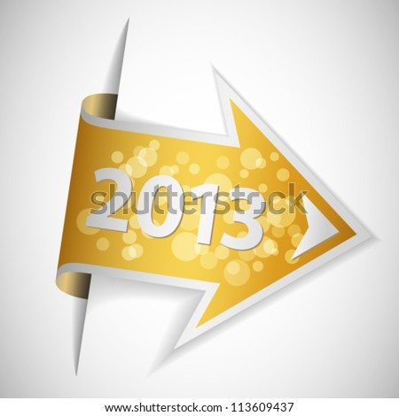 Golden arrow with year 2013 - stock vector