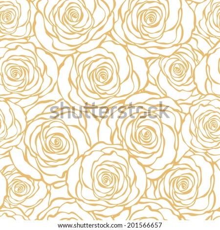 Golden Art Deco floral seamless pattern with roses. Vector roses hand drawn wallpaper - stock vector