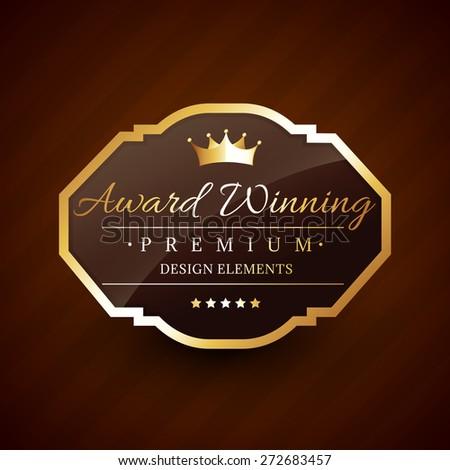 golden award winning premium beautiful vector label design - stock vector