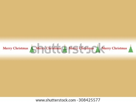Golden background and Merry Christmas sign with green trees and a glowing star in the middle - stock vector