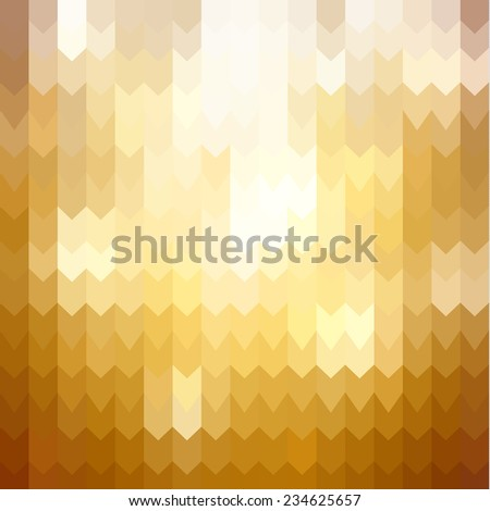 Golden background with abstract arrows pattern - stock vector