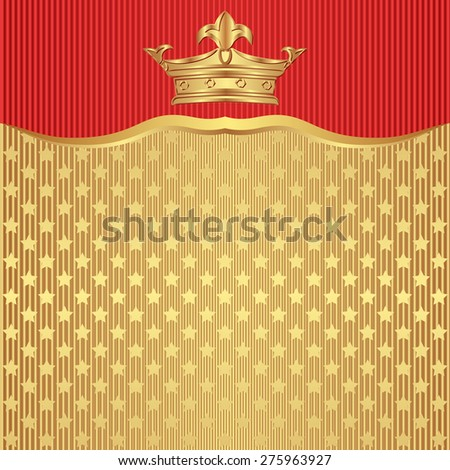 golden background with crown and stars - stock vector