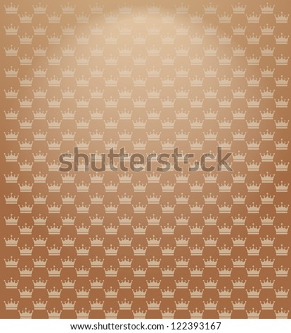 Golden background with crowns. Seamless texture-abstract background - stock vector