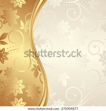 golden background with floral ornaments - stock vector