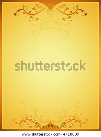 golden background  with lovely squiggles with leaves - stock vector